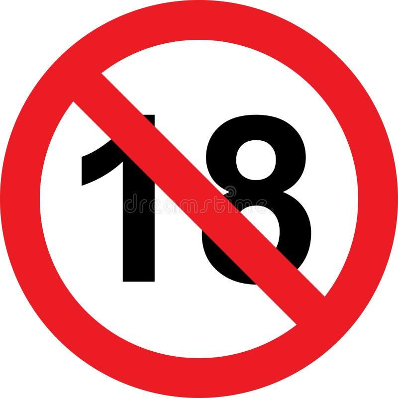18 rok ograniczenie znaka royalty ilustracja