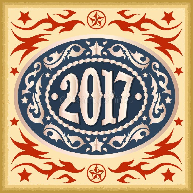 2017 rok owalna zachodnia kowbojska pasowa klamra ilustracji