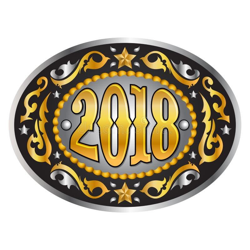 2018 rok owalna zachodnia kowbojska pasowa klamra ilustracja wektor