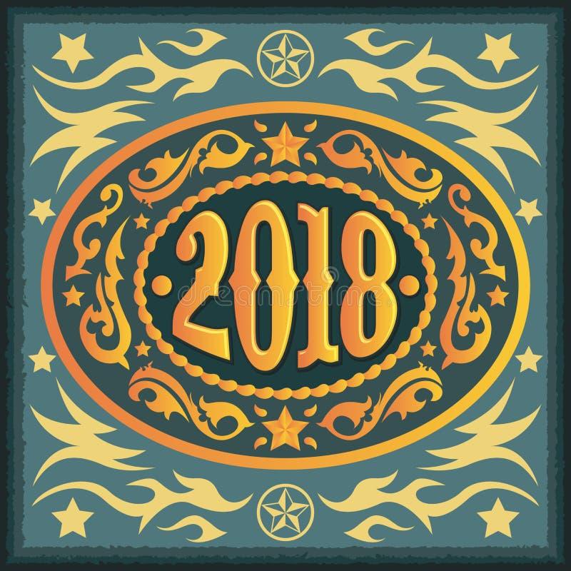 2018 rok owalna zachodnia kowbojska pasowa klamra royalty ilustracja