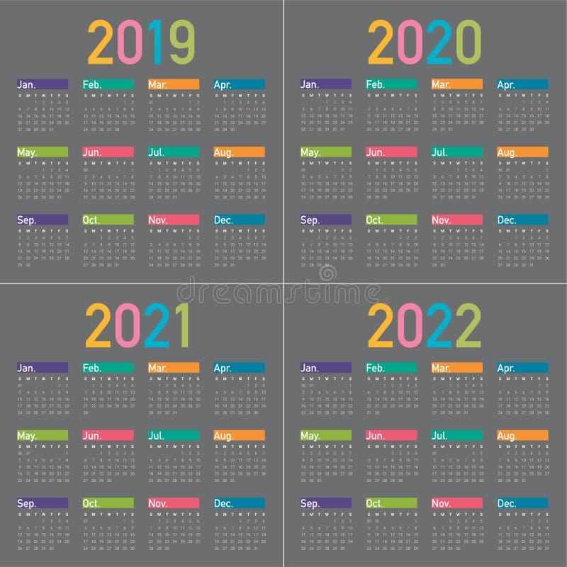 Rok 2019 2020 2021 2022 projekta kalendarzowy wektorowy szablon zdjęcia stock