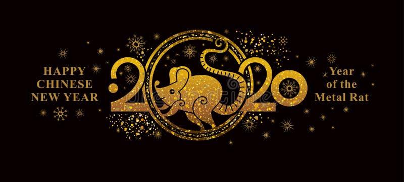 Rok Rat 2020 w chińskim kalendarzu Szczęśliwy chiński nowy rok 2020 - horyzontalny baner Złoty symbol na czarno royalty ilustracja