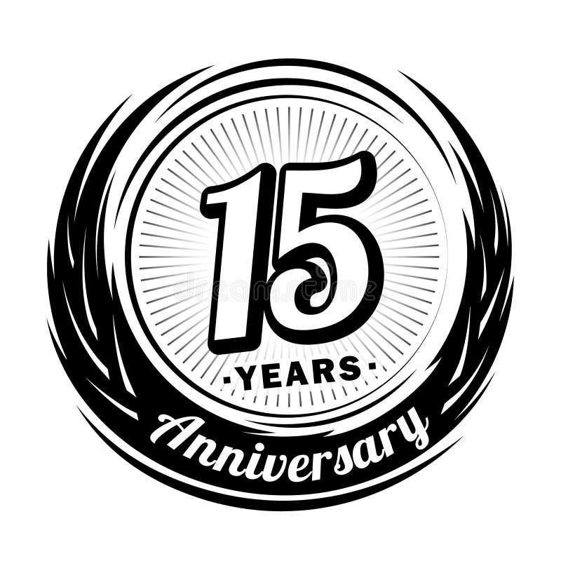 15 rok rocznica Elegancki rocznicowy projekt 15th logo ilustracja wektor
