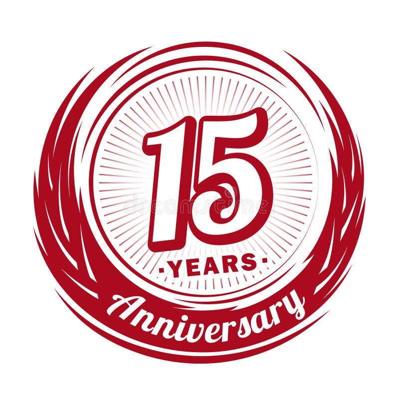 15 rok rocznica Elegancki rocznicowy projekt 15th logo ilustracji
