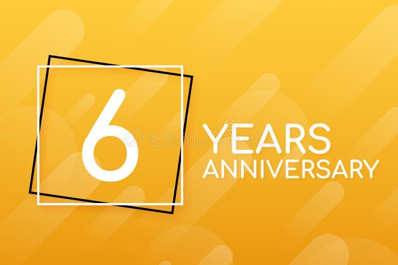 6 rok rocznica emblemata Rocznicowa ikona lub etykietka 6 rok ?wi?towa? i gratulacyjnego projekta element r?wnie? zwr?ci? corel i ilustracji