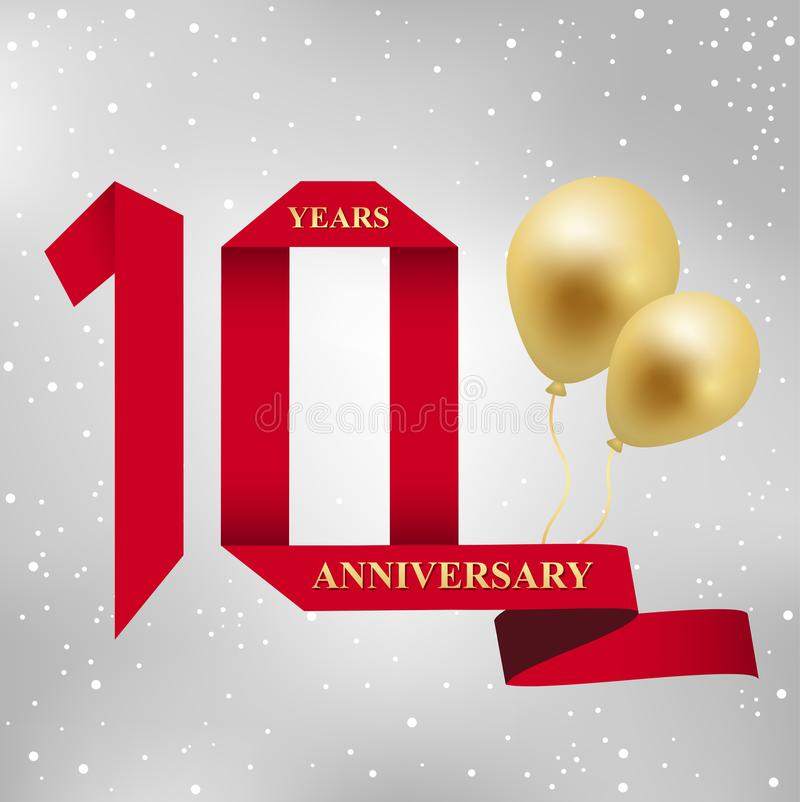 10 rok rocznicowego świętowania czerwonego tasiemkowego logotypu ilustracji