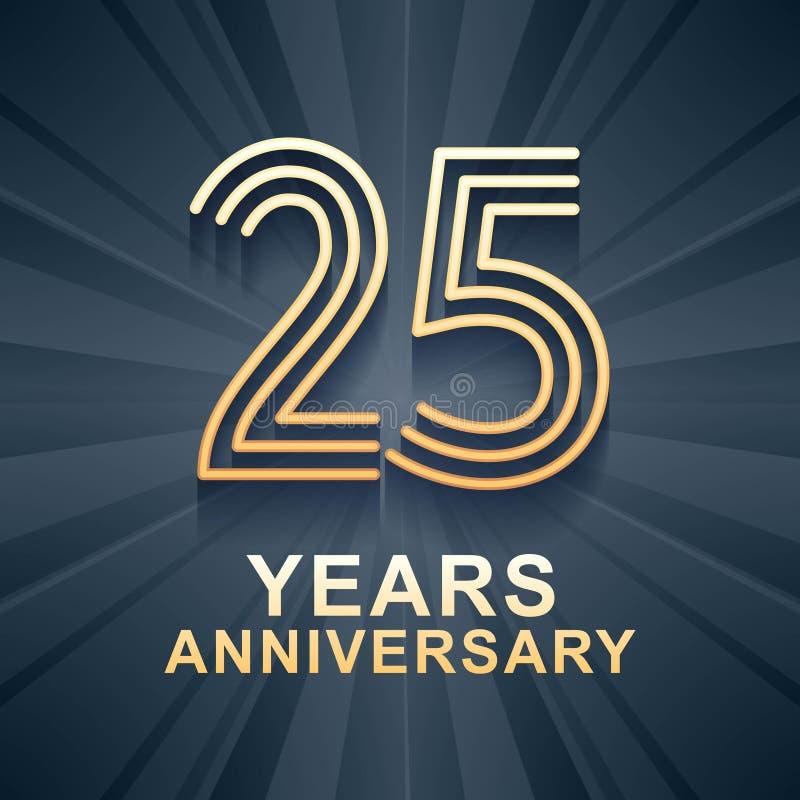 25 rok rocznicowego świętowania wektorowej ikony, logo royalty ilustracja