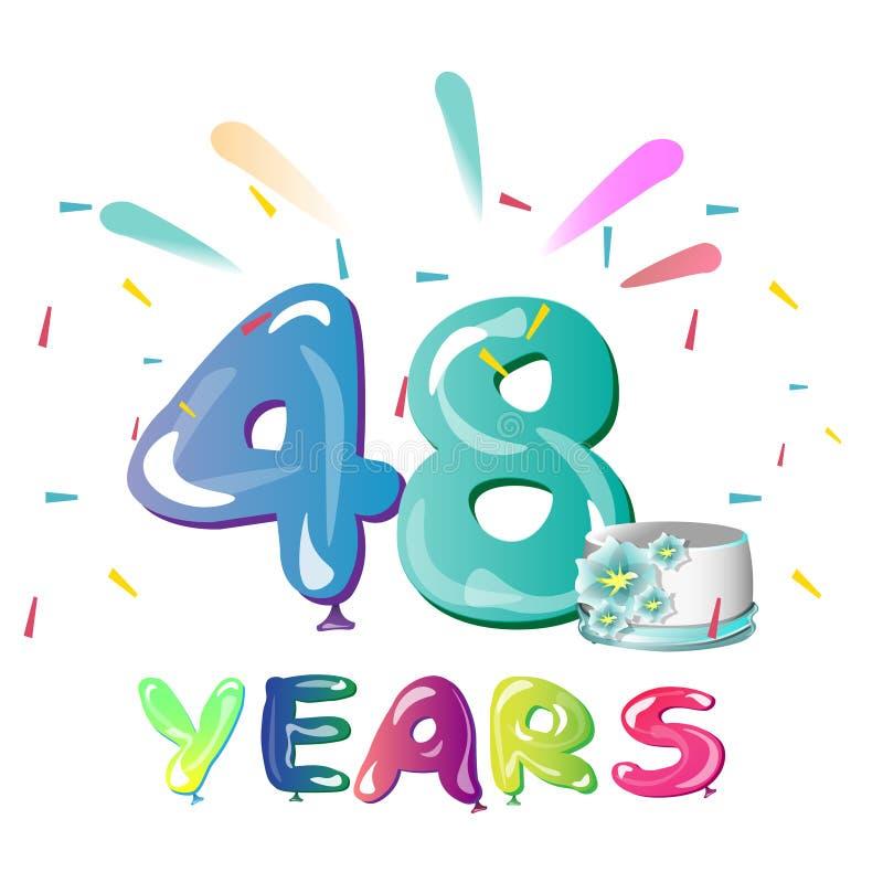 48 rok Rocznicowego świętowania z tortem ilustracja wektor