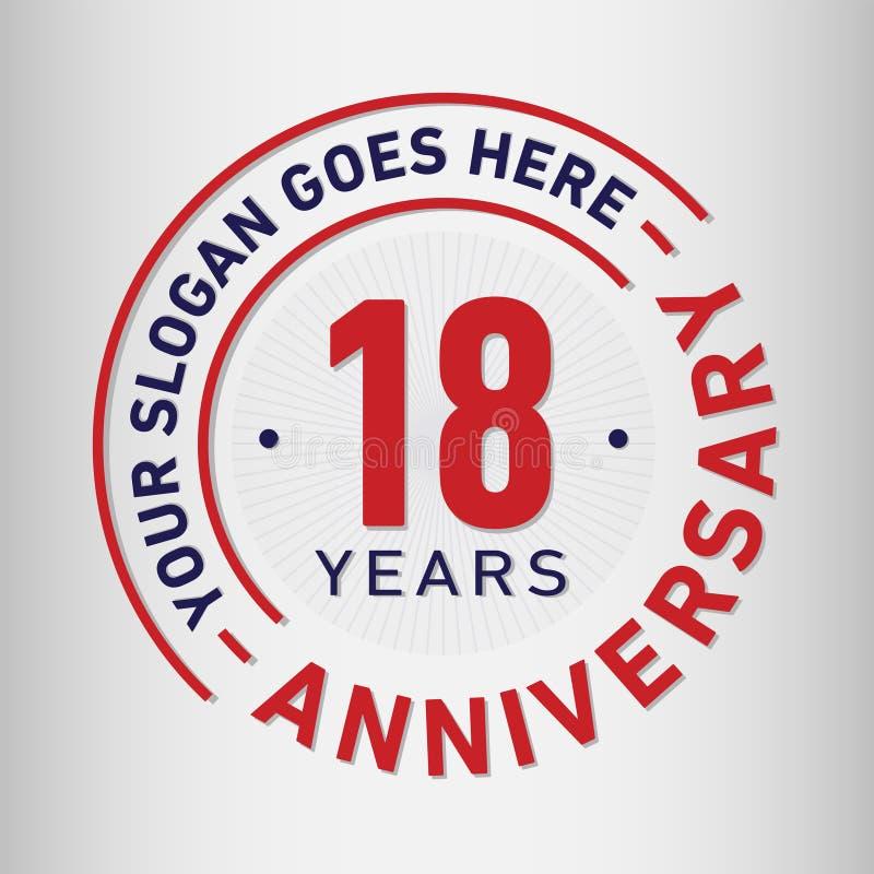 18 rok Rocznicowego świętowanie projekta szablonu Rocznicowy wektor i ilustracja Osiemnaście rok logo ilustracji