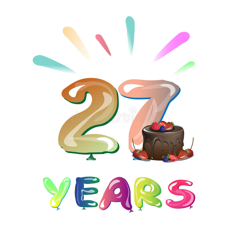 27 rok Rocznicowego świętowanie projekta z tortem, ilustracja wektor
