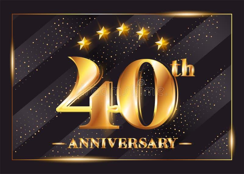 40 rok Rocznicowego świętowanie wektoru loga 40th rocznica ilustracji