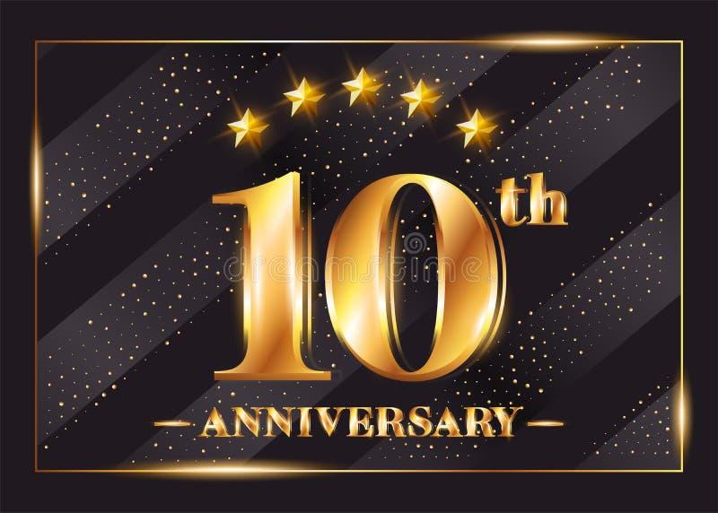 10 rok Rocznicowego świętowanie wektoru loga 10th rocznica royalty ilustracja