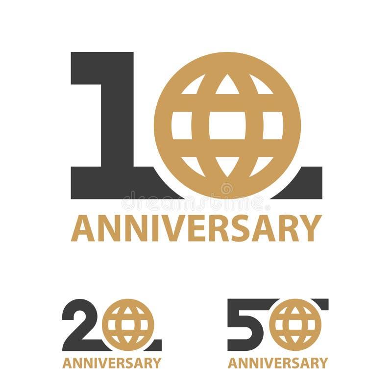 10 20 50 rok rocznicowego kuli ziemskiej liczby wektoru obraz stock