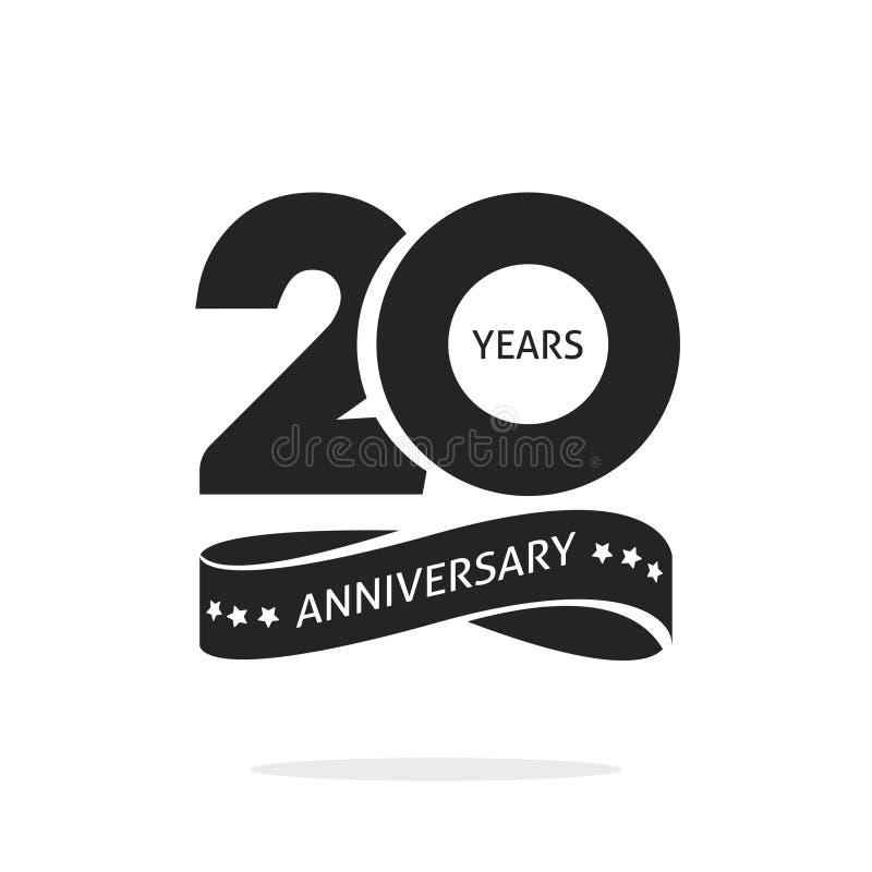 20 rok rocznicowego loga szablonu, czarny i biały znaczka ikony 20th rocznicowa etykietka z faborkiem, dwadzieścia rok royalty ilustracja