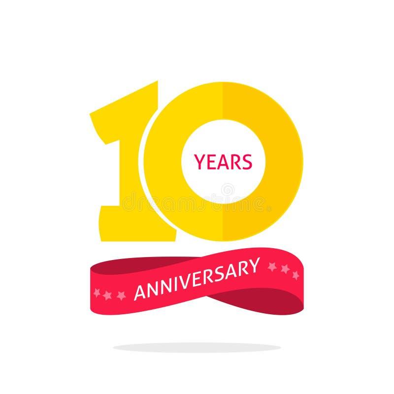 10 rok rocznicowego loga szablonu, 10th rocznicowa ikony etykietka, dziesięć rok przyjęcia urodzinowego symbol royalty ilustracja