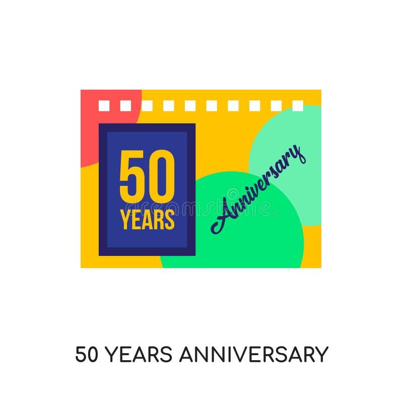 50 rok rocznicowego logo odizolowywającego na białym tle dla twój ilustracja wektor