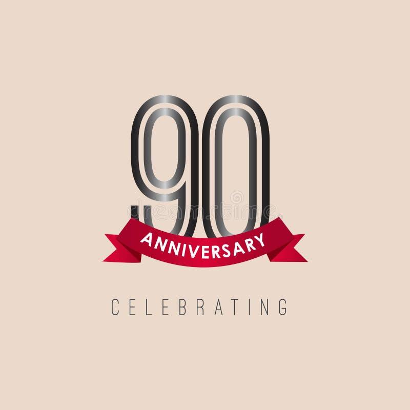 90 rok Rocznicowego logo szablonu projekta Wektorowa ilustracja royalty ilustracja