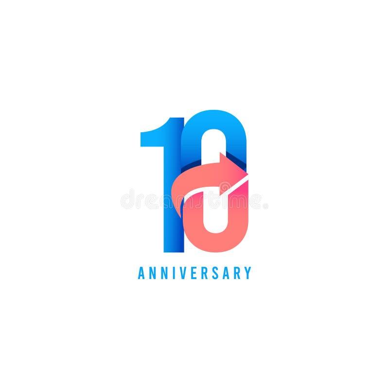10 rok Rocznicowego logo szablonu projekta Wektorowa ilustracja ilustracja wektor