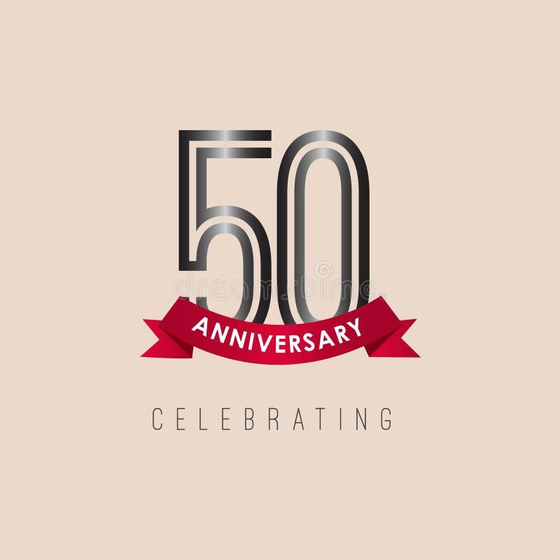 50 rok Rocznicowego logo szablonu projekta Wektorowa ilustracja royalty ilustracja