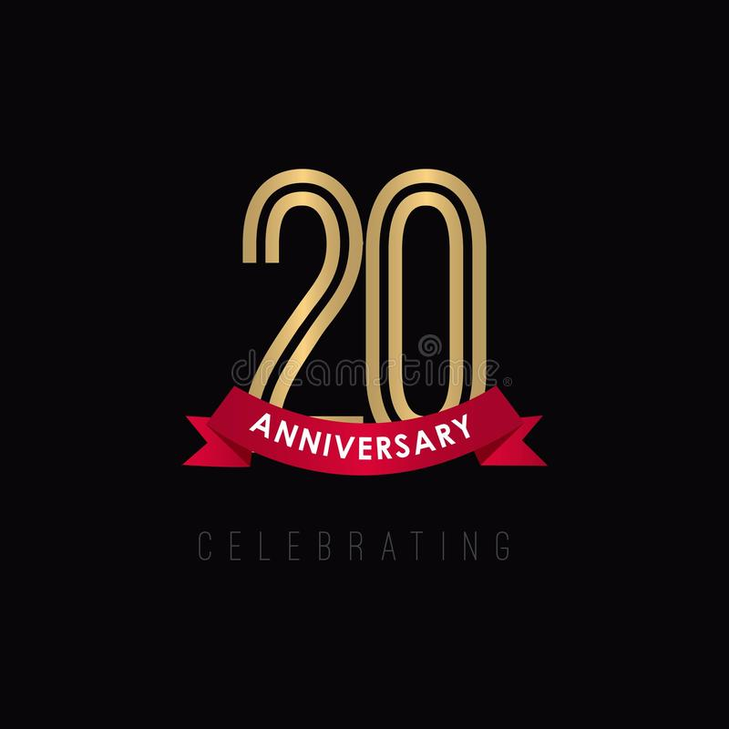 20 rok Rocznicowego Luksusowego Złocistego Czarnego logo szablonu projekta Wektorowa ilustracja royalty ilustracja