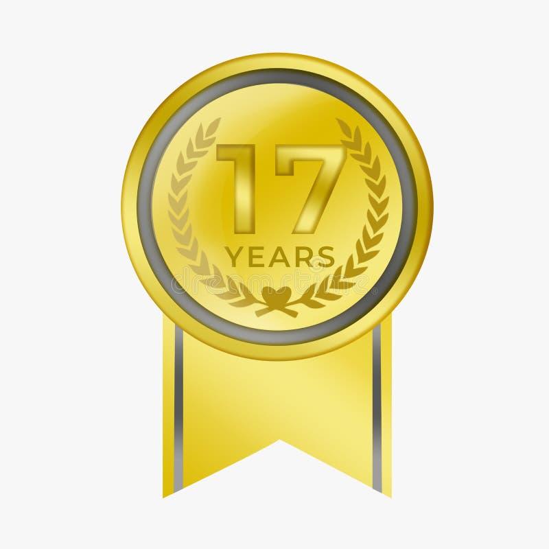 17 rok rocznicowego menniczego złota certyfikata Gratulacyjnej nagrody z tło bielem royalty ilustracja