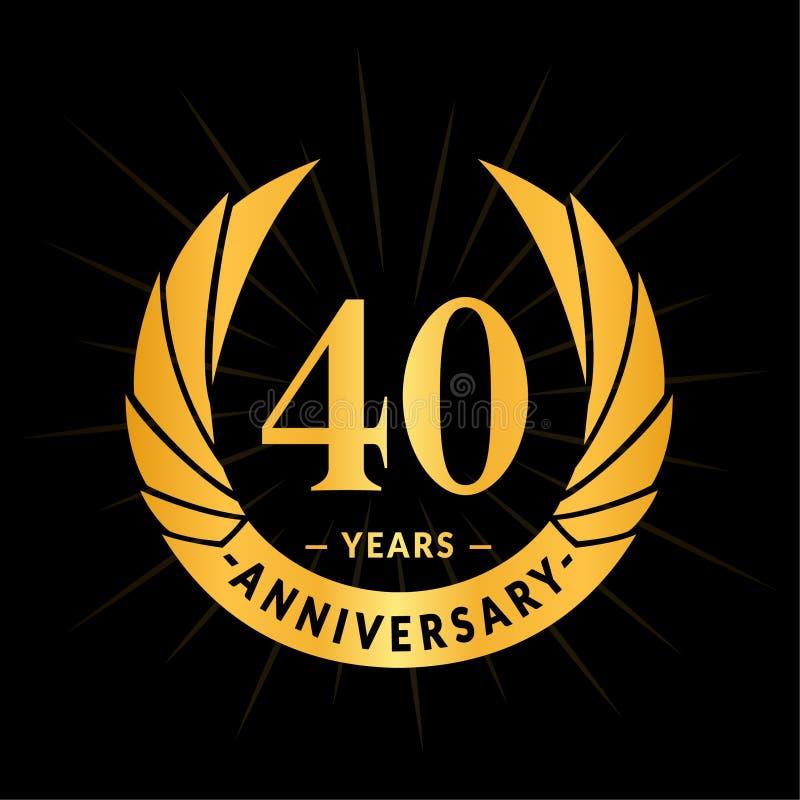 40 rok rocznicowego projekta szablonu Elegancki rocznicowy logo projekt Czterdzieści rok logo ilustracja wektor