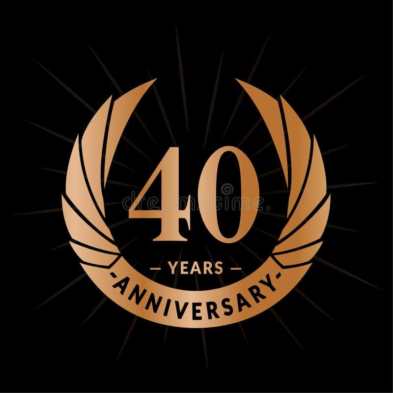 40 rok rocznicowego projekta szablonu Elegancki rocznicowy logo projekt Czterdzieści rok logo ilustracji