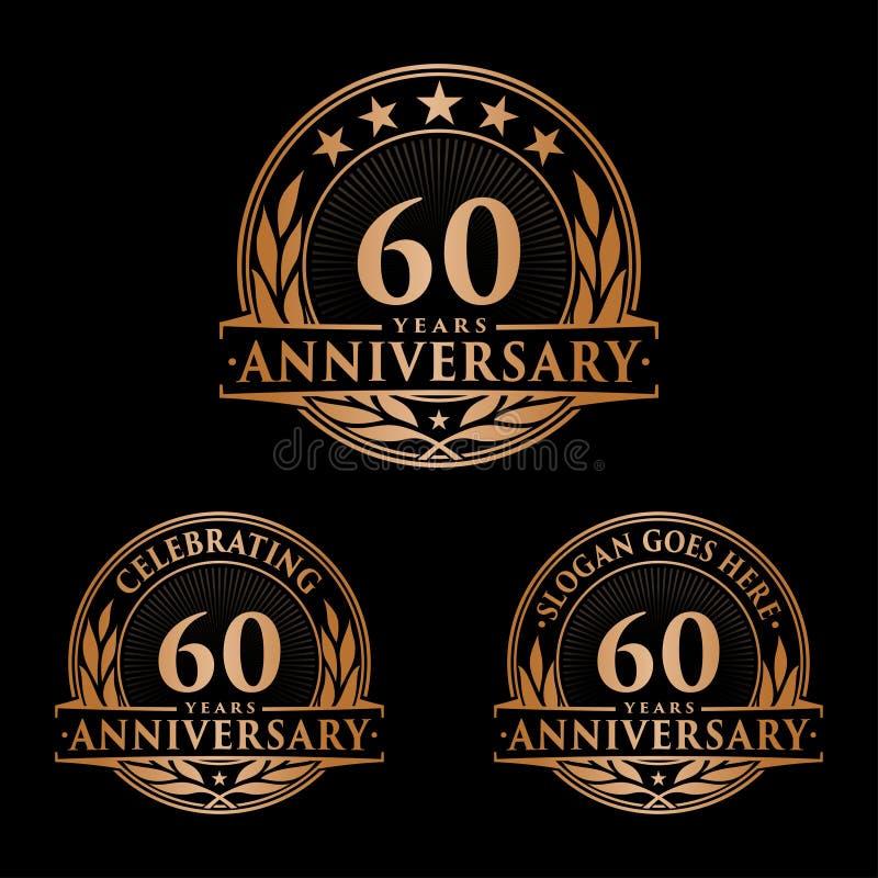 60 rok rocznicowego projekta szablonu Rocznicowy wektor i ilustracja 60th logo ilustracja wektor
