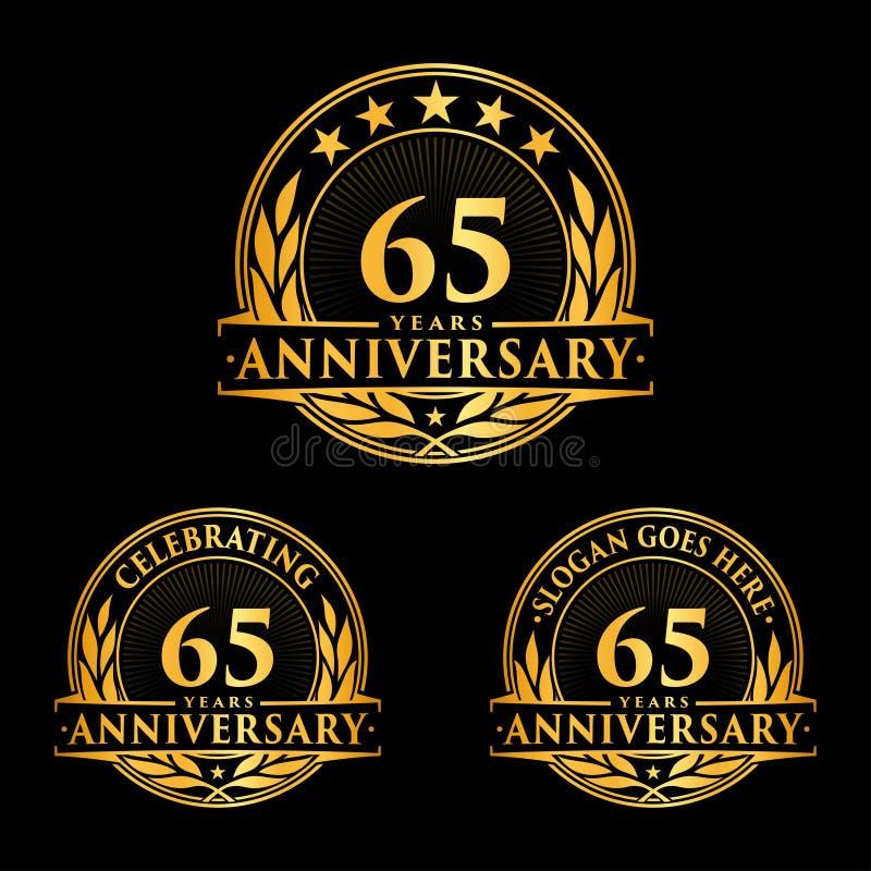 65 rok rocznicowego projekta szablonu Rocznicowy wektor i ilustracja 65th logo ilustracja wektor