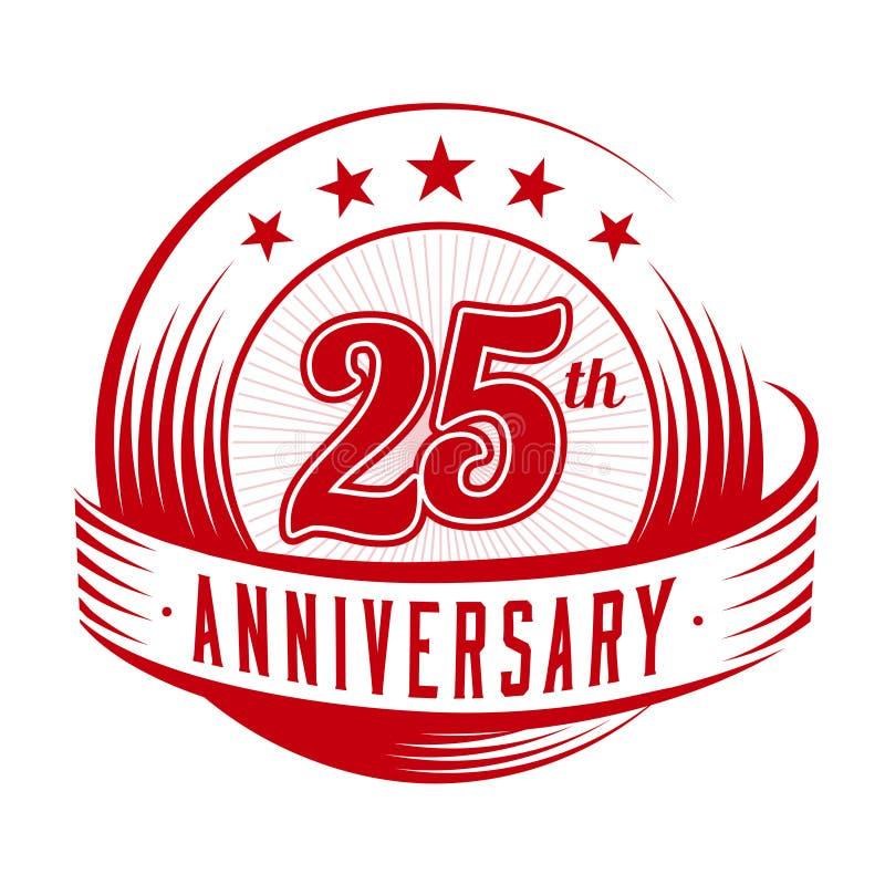 25 rok rocznicowego projekta szablonu 25th rocznicowy odświętność logo projekt 25years logo ilustracji