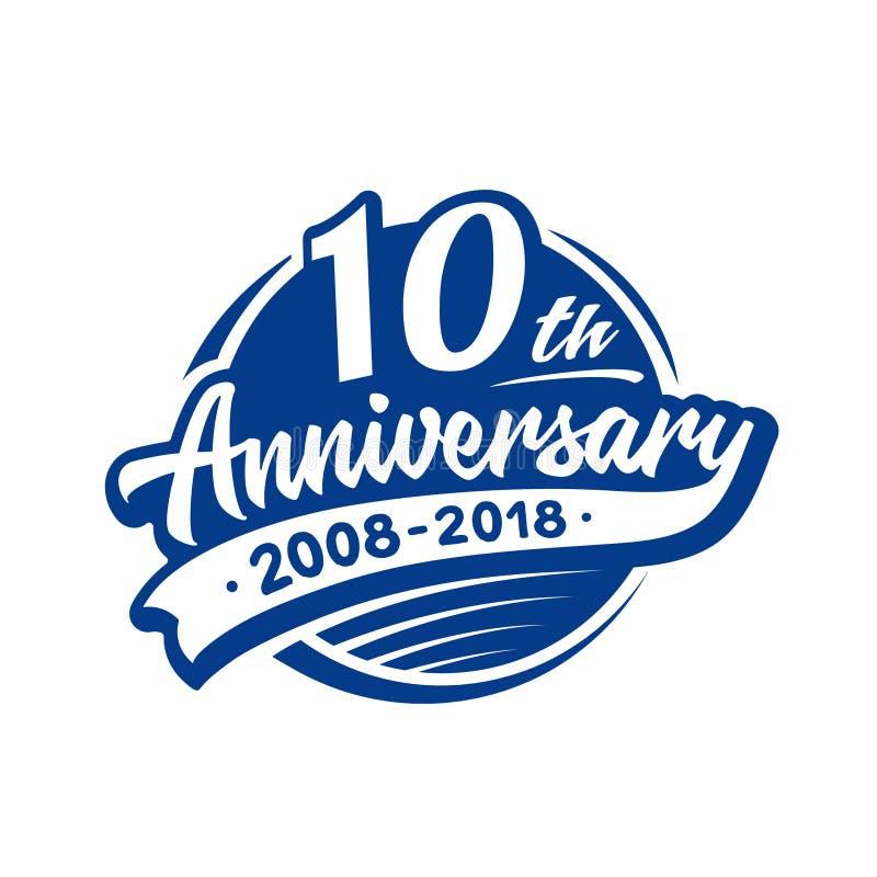 10 rok rocznicowego projekta szablonu Wektor i ilustracja 10th logo ilustracji