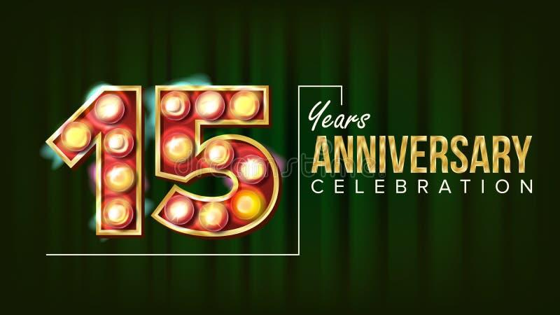 15 rok Rocznicowego sztandaru wektoru Piętnaście, Fifteenth świętowanie Rozjarzona lampy liczba Dla przyjęcia, sztandar, odznaka ilustracja wektor