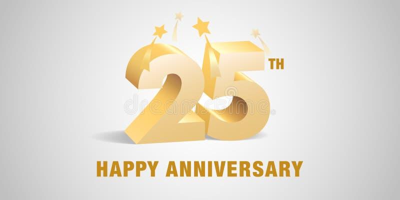 25 rok rocznicowego wektorowego loga, ikona Szablonu sztandar, symbol z 3d z?otymi liczbami royalty ilustracja