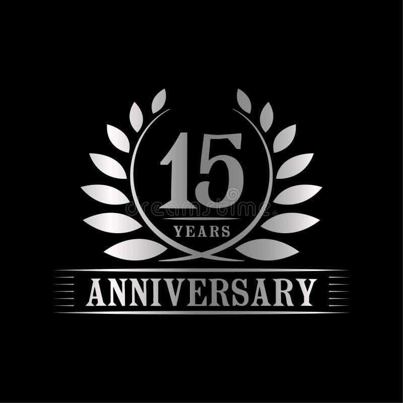 15 rok rocznicowego ?wi?towanie logo 15th rocznicowy luksusowy projekta szablon Wektor i ilustracja ilustracja wektor