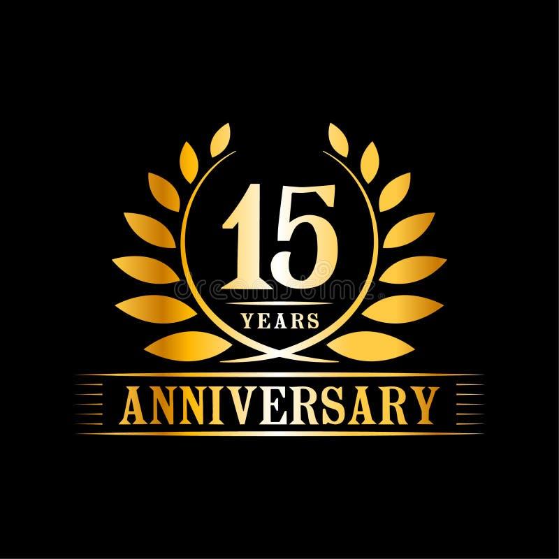 15 rok rocznicowego ?wi?towanie logo 15th rocznicowy luksusowy projekta szablon Wektor i ilustracja royalty ilustracja