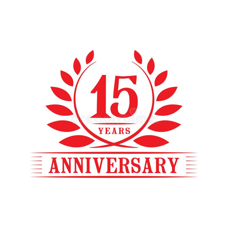 15 rok rocznicowego ?wi?towanie logo 15th rocznicowy luksusowy projekta szablon Wektor i ilustracja ilustracji