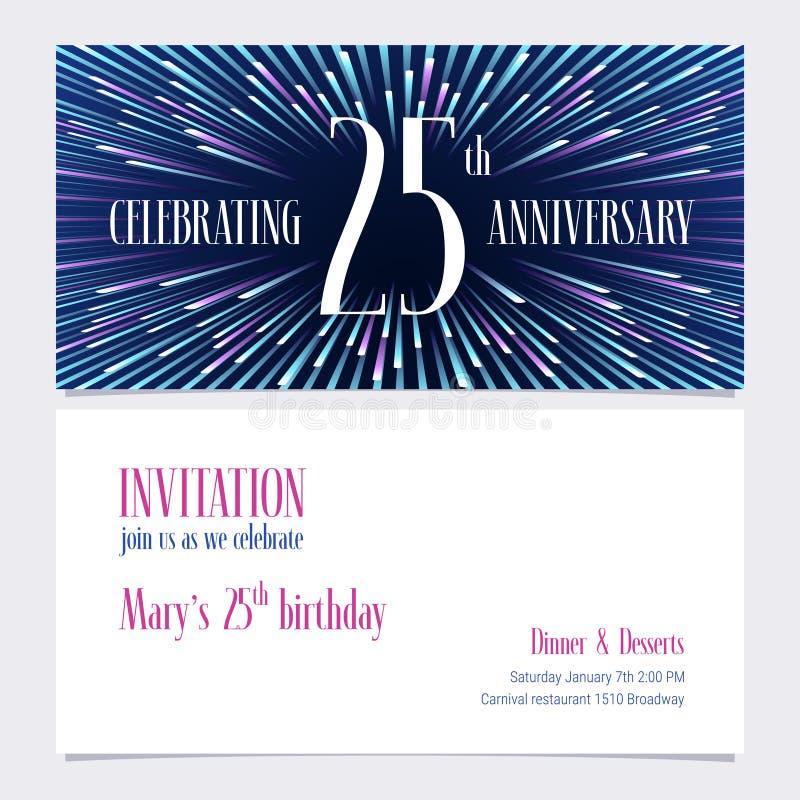 25 rok rocznicowego zaproszenia wektorowej ilustraci, projekta element ilustracji