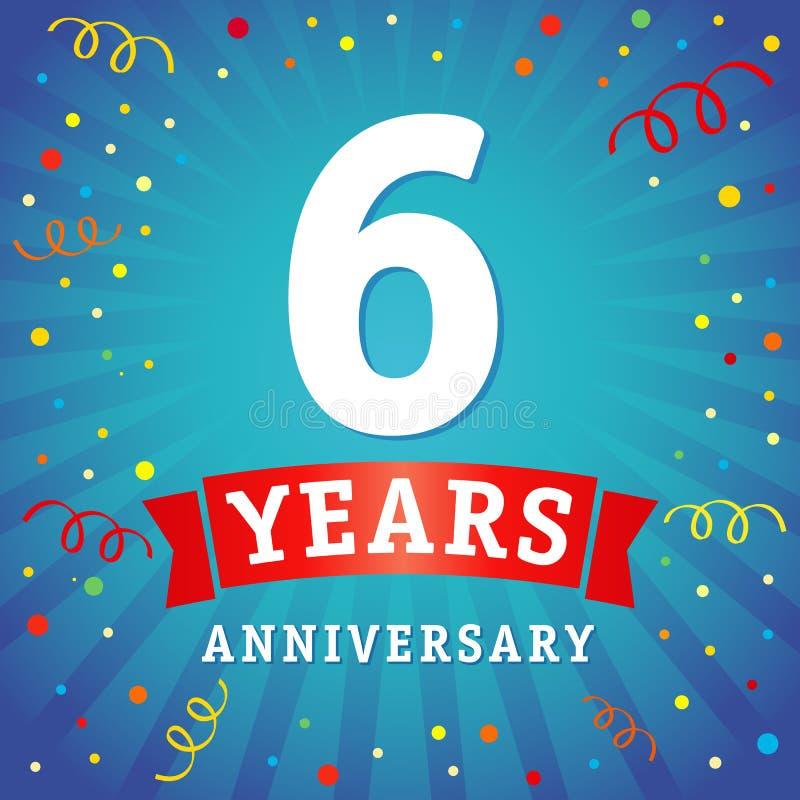6 rok rocznicowej loga świętowania karty ilustracji