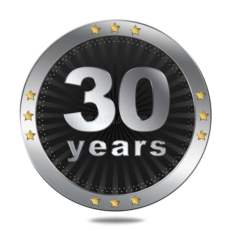30 rok rocznicowej odznaki - srebny colour ilustracji