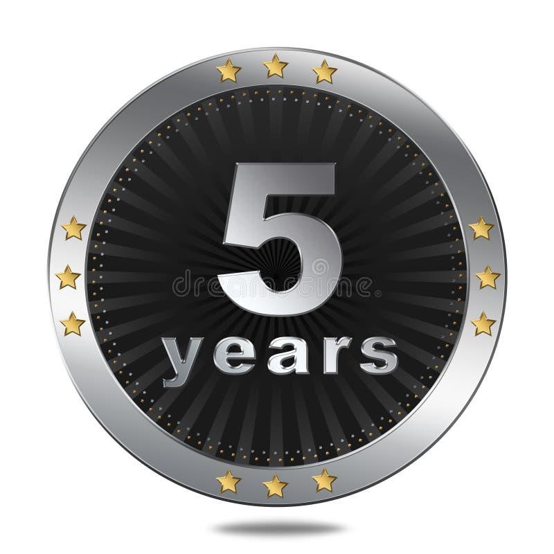 5 rok rocznicowej odznaki - srebny colour ilustracja wektor