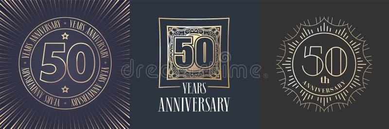 50 rok rocznicowej wektorowej ikony, loga set ilustracja wektor