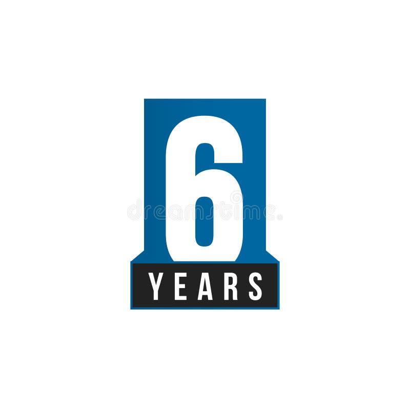 6 rok Rocznicowej wektorowej ikony Urodzinowy loga szablon Kartka z pozdrowieniami projekta element Prosta biznesowa rocznica royalty ilustracja