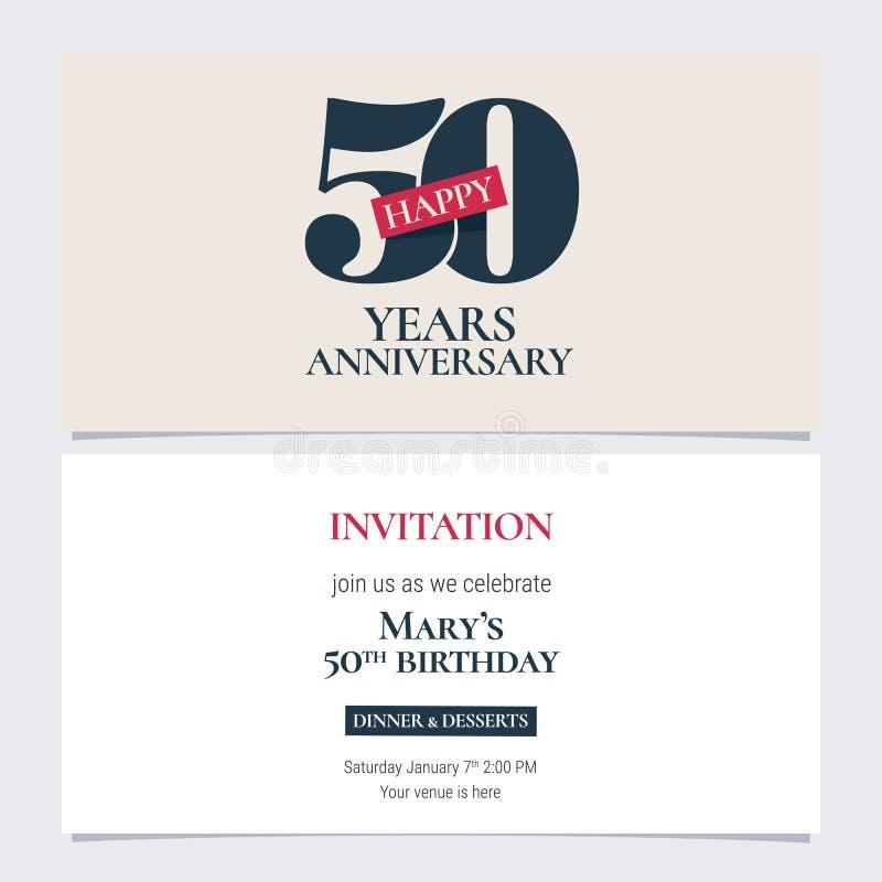 50 rok rocznicowej zaproszenie wektoru ilustraci Graficznego projekta szablon royalty ilustracja
