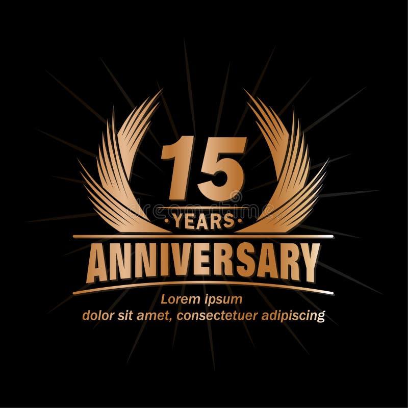 15 rok rocznicowych Elegancki rocznicowy projekt 15th roku logo royalty ilustracja