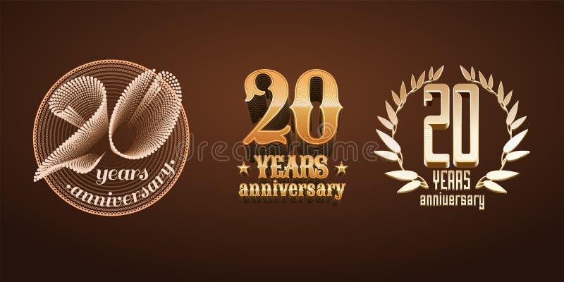 20 rok rocznicowych ustawiającego wektorowy logo, ikona, liczba ilustracji