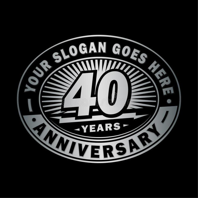 40 rok rocznicy świętowania 40th rocznicowy logo projekt Czterdzieści rok logo ilustracja wektor