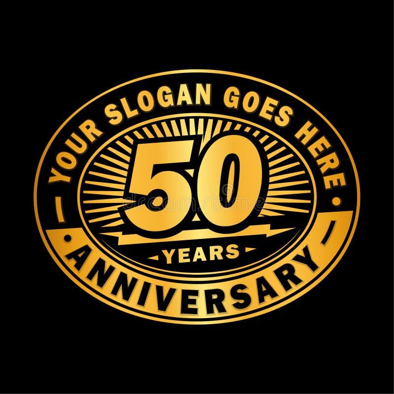 50 rok rocznicy świętowania 50th rocznicowy logo projekt Pięćdziesiąt rok logo royalty ilustracja