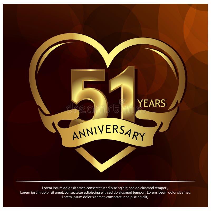 51 rok rocznicy z?otej rocznicowy szablonu projekt dla sieci, gra, Kreatywnie plakat, broszura, ulotka, ulotka, magazyn, invita ilustracja wektor