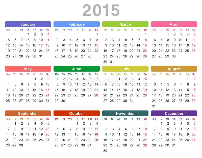 2015 rok rocznika kalendarz (Poniedziałek najpierw, angielszczyzny) ilustracji