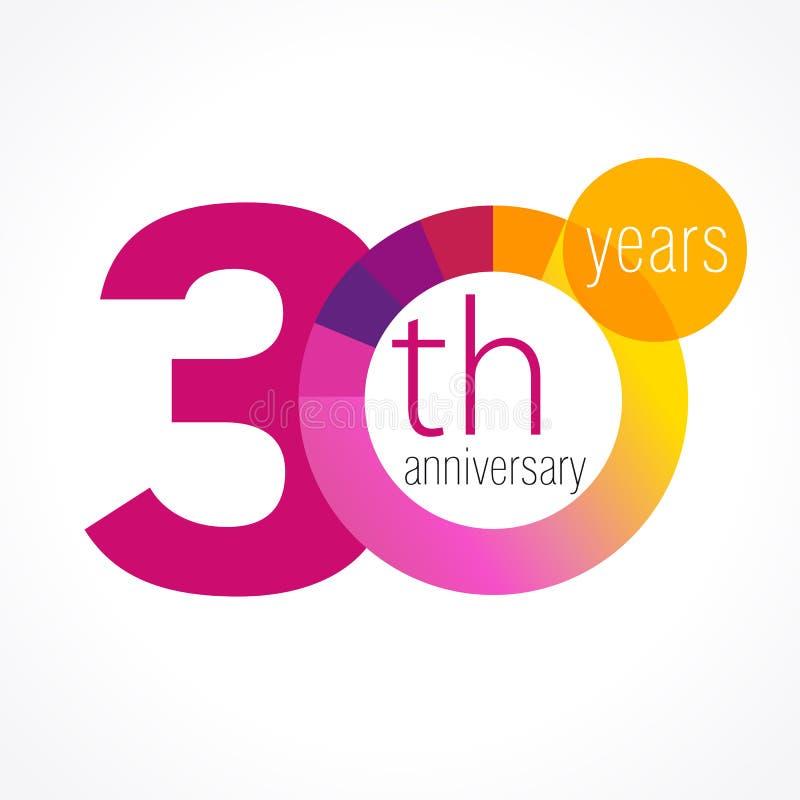 30 rok round loga ilustracja wektor